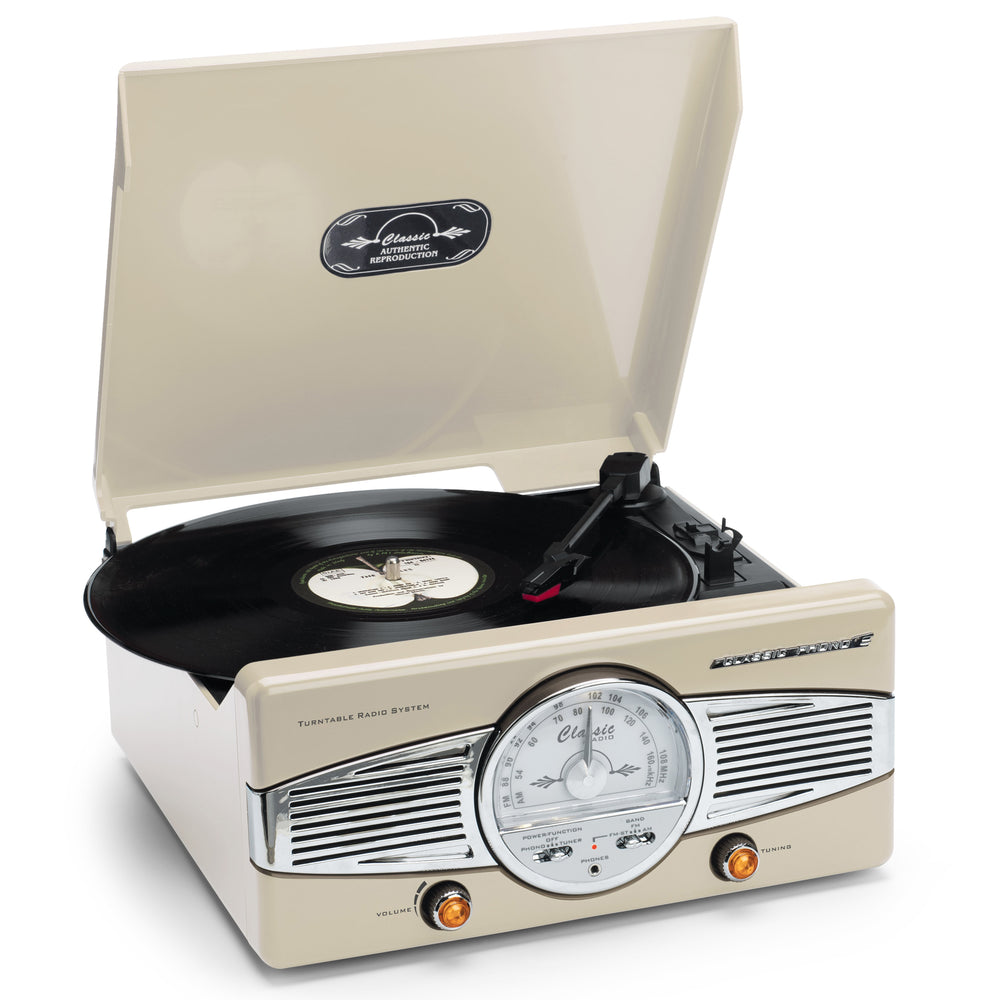 Classic Phono TT-28 C - Turntable with Radio - speakers - Cream