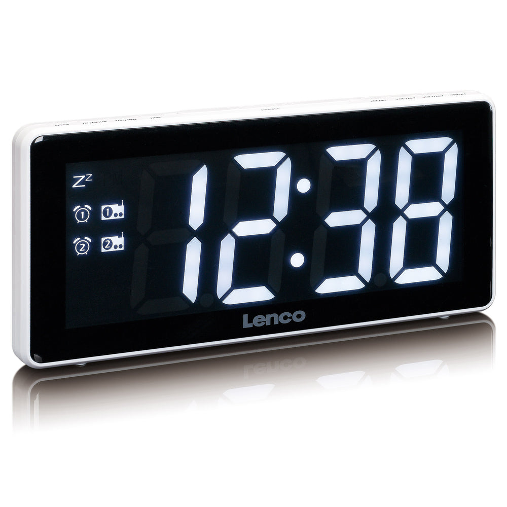 Lenco CR-30WH Clockradio with red 3 inch display