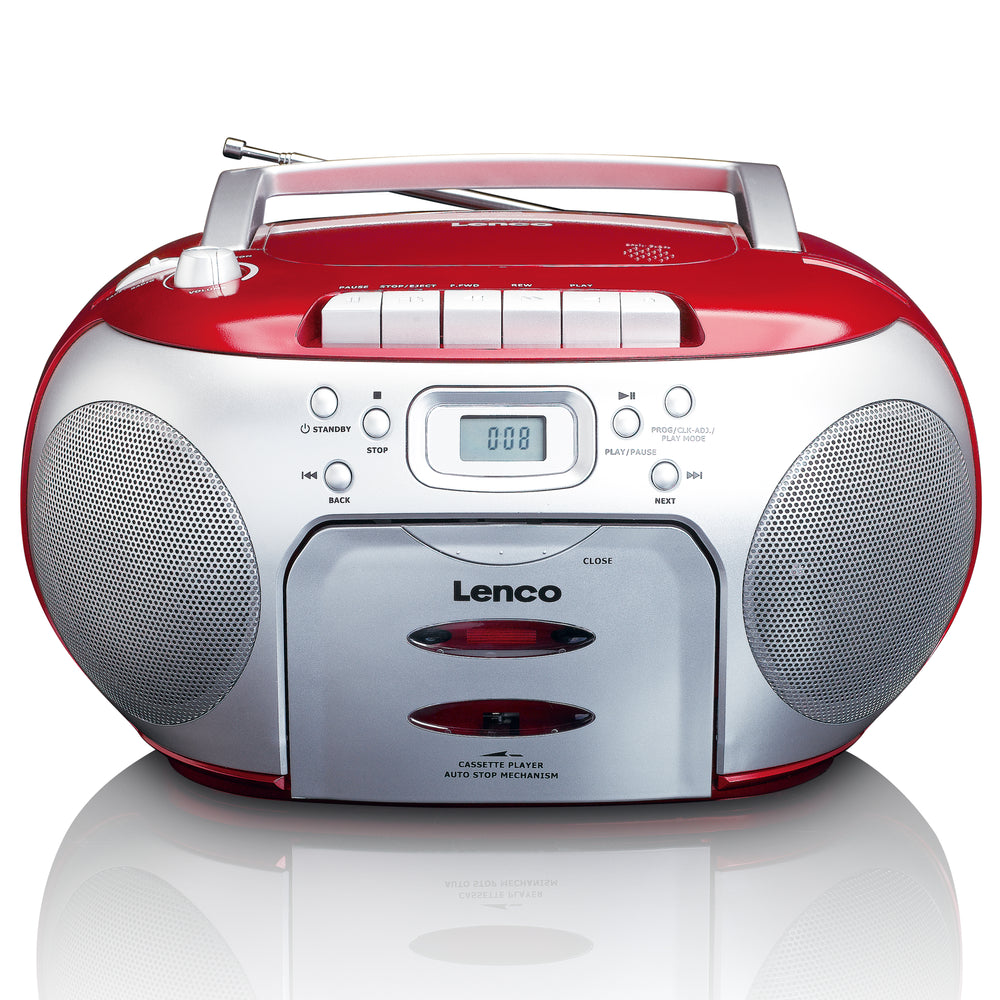 Lenco SCD-420RD - Portable FM Radio CD- Cassette player
