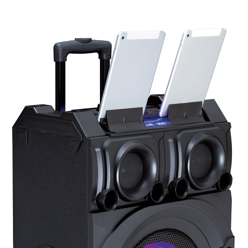 Lenco PMX-350 - High power PA/DJ mixer system with Bluetooth, USB, built-in battery, wireless microphone and party lights