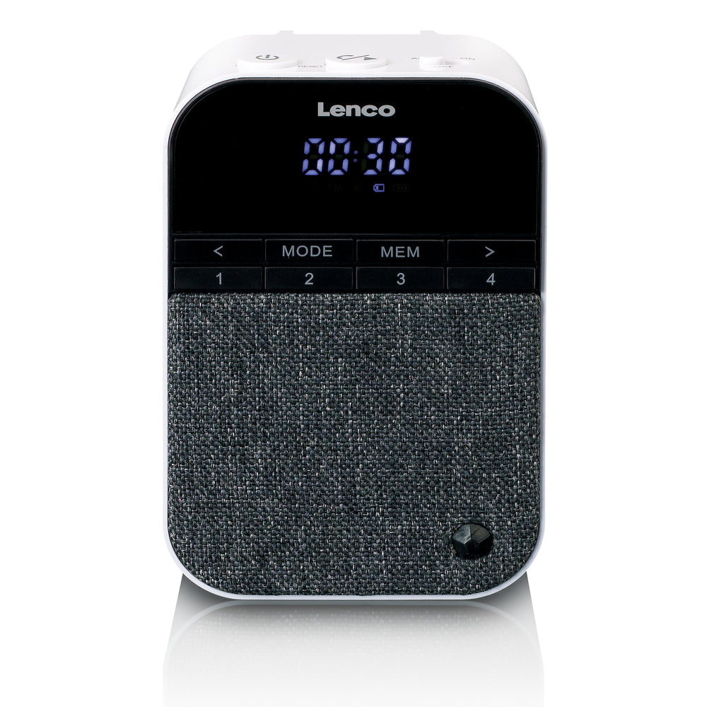 Lenco PPR-100WH - FM radio Bluetooth speaker with removable plug - White