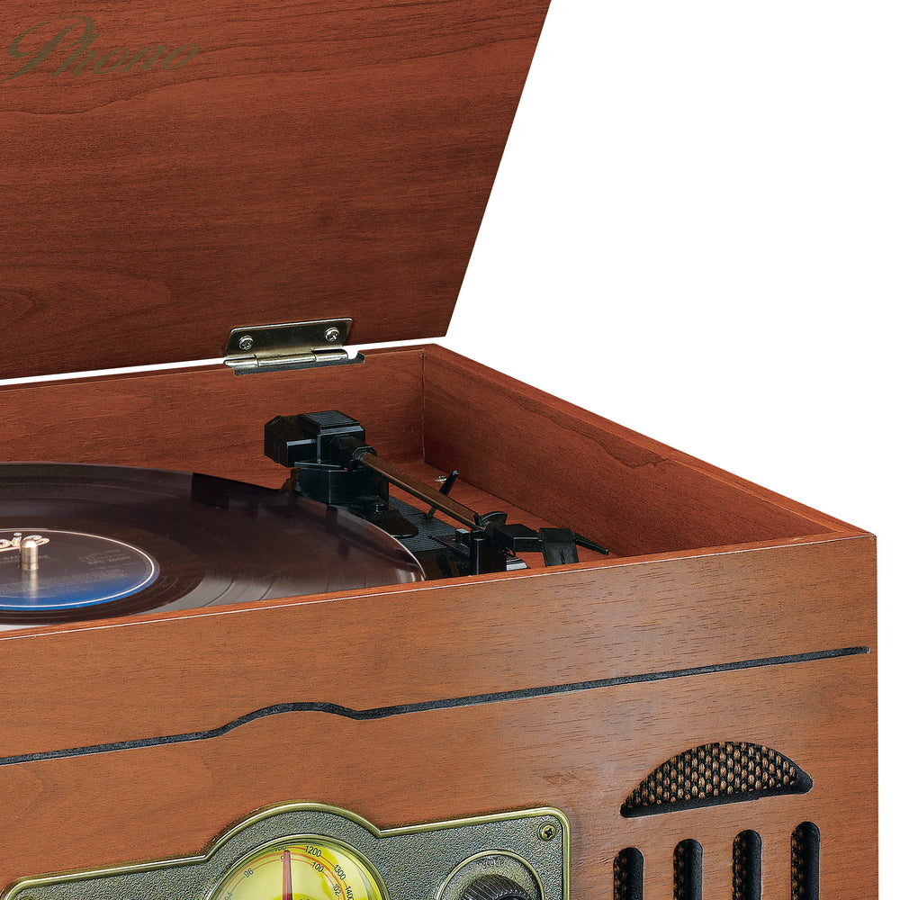 Classic Phono TCD-2600 Walnut - Turntable - CD - Radio - Cassette - Speakers - Walnut