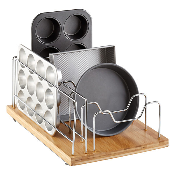 Do you have a lot of wasted space at the back of your cabinets? If you are like most people, that answer is yes! Make the most of that space in the cabinet with a roll-out organizer. This one is specially designed to hold your bakeware, but even simple drawers can be helpful in the deep cabinets.