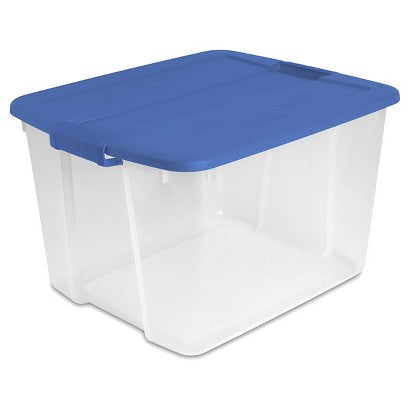 Next, stock up on plastic storage bins. We prefer the clear bins which allow you to see the items inside, but the colored bins are great too just make sure you label your bins well.