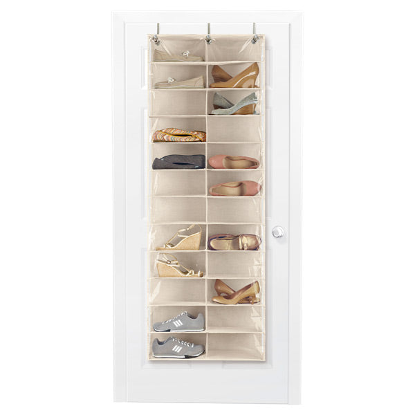 If you are short on space, make use of your door. An over-the-door shoe organizer is a great way to keep your shoes out of a pile on your floor.