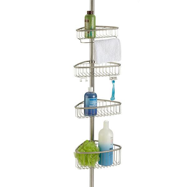 This tension pole shelving works great in a corner and allows for shelf movement to accommodate those larger/smaller items.