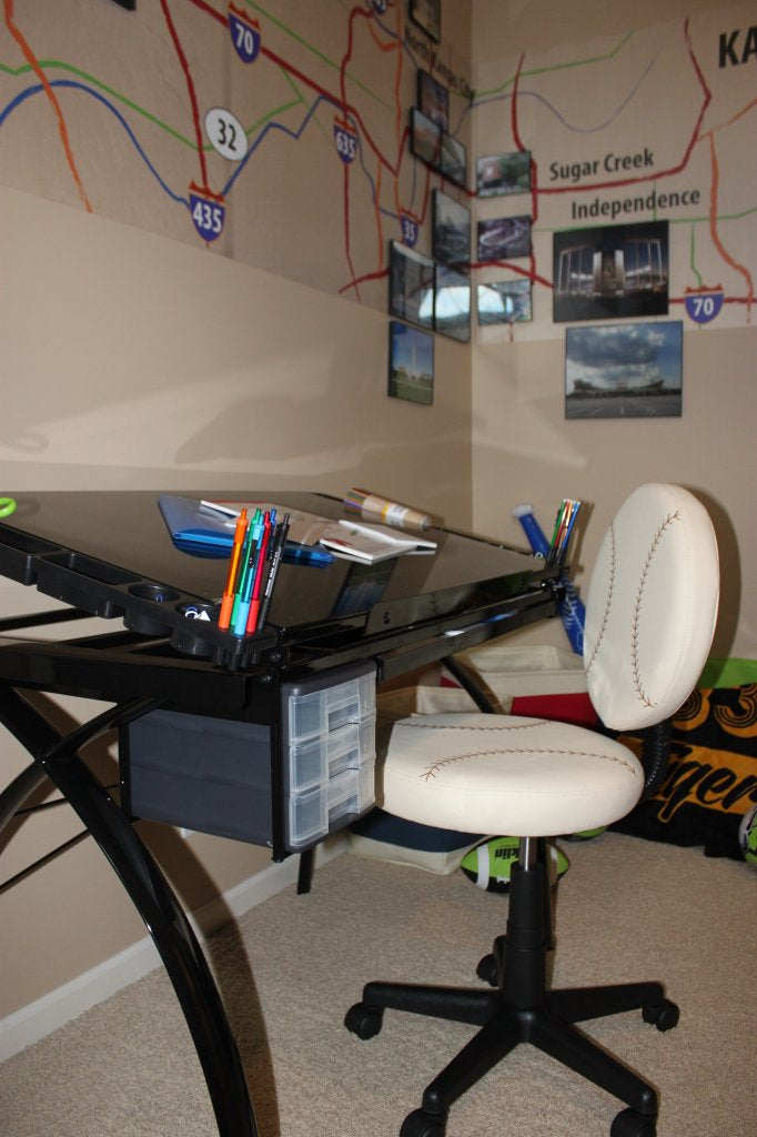 Drafting Table Desk and Baseball Chair