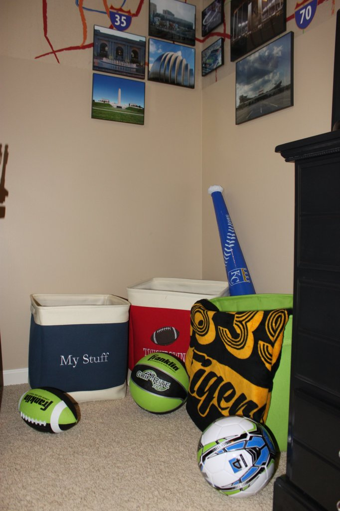 Storage bins - Sports Room