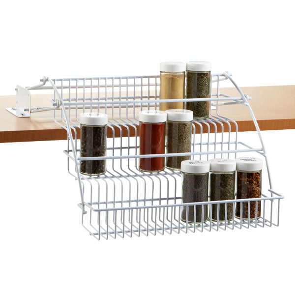 Another area that seems to be a mess quickly, is the spice cabinet. Tiered spice racks are a great way to see your smaller spices without having to move each one. This one is great because it pulls down making them even easier to find in a pinch.