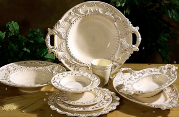 Baroque Dinnerware - 7 Colors - Available in Cream, Paprika, Honey, Taupe, Verde, Red, and White. - Pezzo Bello Interiors