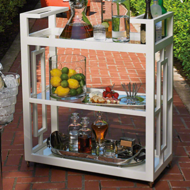 Beautiful White Bar Cart - Pezzo Bello Interiors