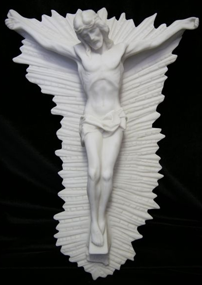 Italian Marble Crucifix - Jesus on Cross with Rays