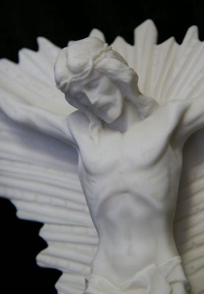 Italian Marble Statue - Jesus Christ on Rays Detail