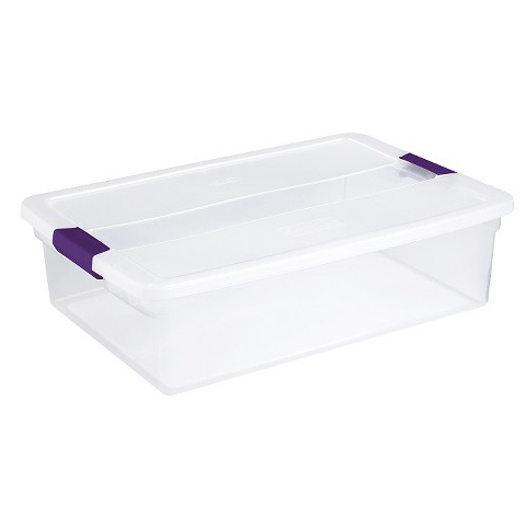 "Sometimes all you need is a few plastic storage boxes with lids. These are easily stacked and while they make it a bit harder to access, they keep clutter at bay. These would be great for things you need only ""every-once-in-a-while"" not your everyday items."
