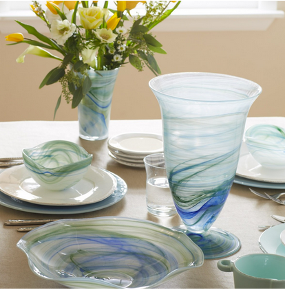 Beautiful Vietri hand blown Alabaster glass features bands of blues and greens swirling together on smooth, translucent glass.