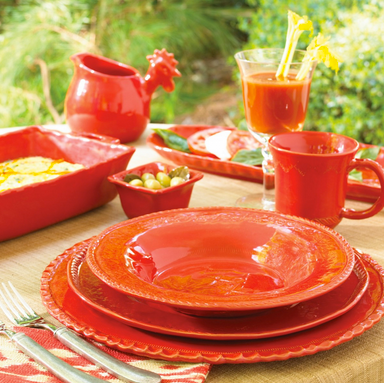 Another beautiful Vietri dinnerware collection. Bellezza dinnerware is created by Tuscan artisans using 13th century techniques with antique embossing tools to create intricate lace-line designs on the dinnerware. This gorgeous set is available in buttercream, celadon, sky blue, tomato red, or white.