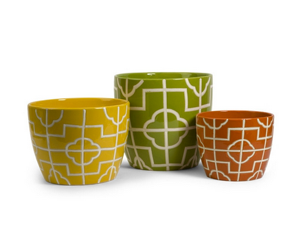 Ellis Graphic Planters - Set of 3 - Pezzo Bello Interiors