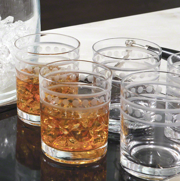 2 Band Double Old Fashion Glasses - Set of 6