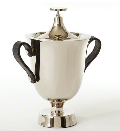 Trophy Ice Bucket with Leather Handles - Man Cave Bar - Stocking the Bar - Pezzo Bello Interiors