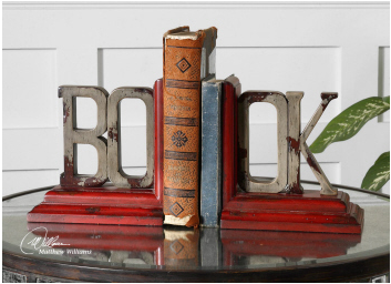 Book Bookends - Rustic Red Wood Charm - Color Scheme Monday