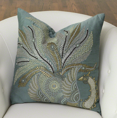 Sarangi Peacock Pillow - Jade - Pezzo Bello Interiors