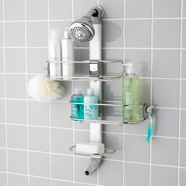 This handy shower organizer slides horizontally to make extra room for those taller items.