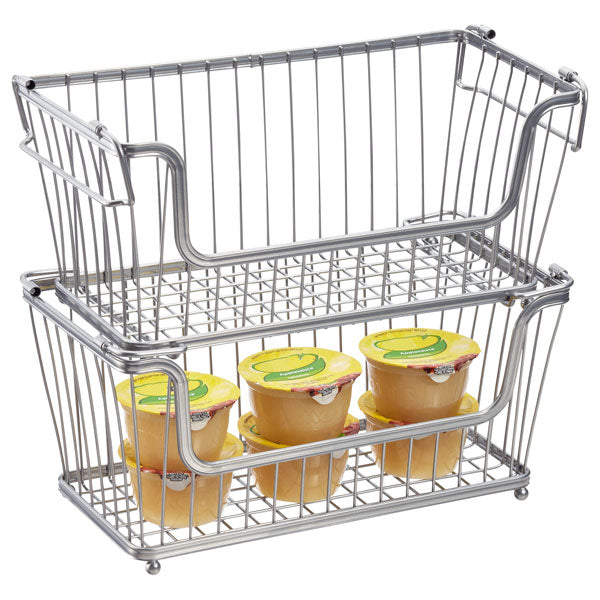If you have a lot of smaller items, stackable baskets are a great way to use up all the space between shelves and keep your items together.