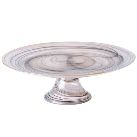 Alabaster Glass Footed Cake Stand - Pezzo Bello Interiors