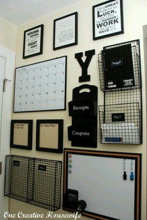 If you have the wall space, use it to your advantage. A well organized wall is a great way to keep things off your desk while still making them easy to get.