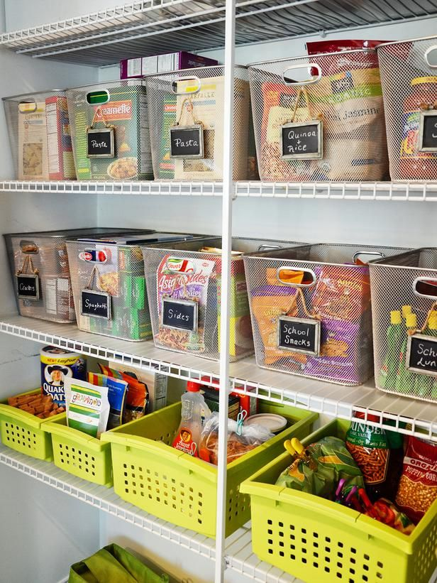 Pantry bins are a great way to keep items organized. Getting similar sized bins makes for a clean look and labels make it easy to find exactly what you need.