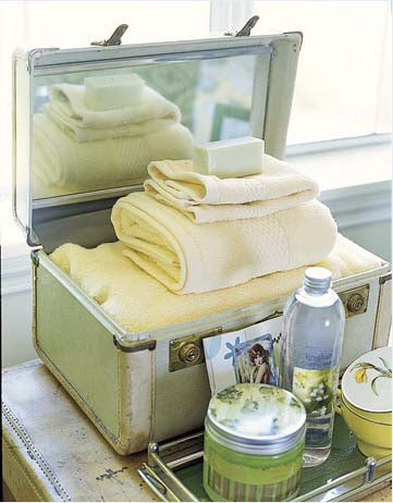towels in vintage suitcase