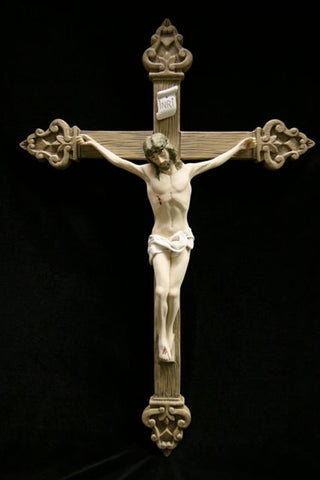 Italian Marble Painted Crucifix