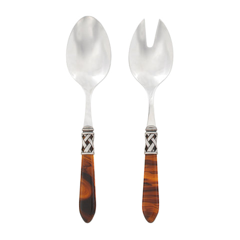 Aladdin Salad Server Set Antique - Tortoiseshell