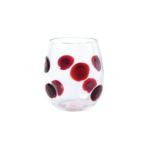 Drop Stemless Wine Glass - Set of 4 - Red