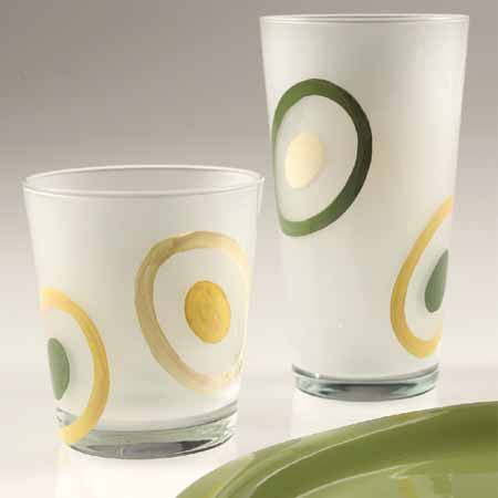 Frosted Dot High Ball Glasses , Overstock/Clearance - Vietri, Pezzo Bello