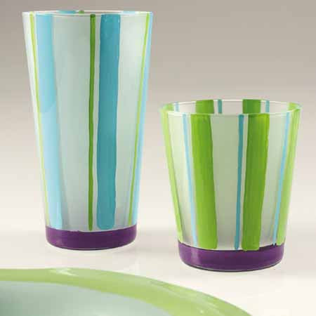 Frosted Stripes Highball Glasses , Overstock/Clearance - Vietri, Pezzo Bello