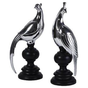 Silver Peacocks Set of 2