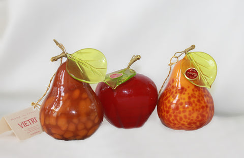 Assorted Murano Glass Fruit Set of 3