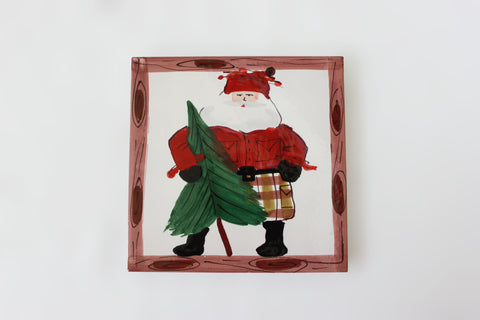 Old St. Nick Square Trivet Tree with Brown Border