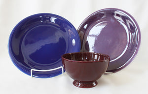 Blue and Purple Plates with Aubergine Bowl Set of 3