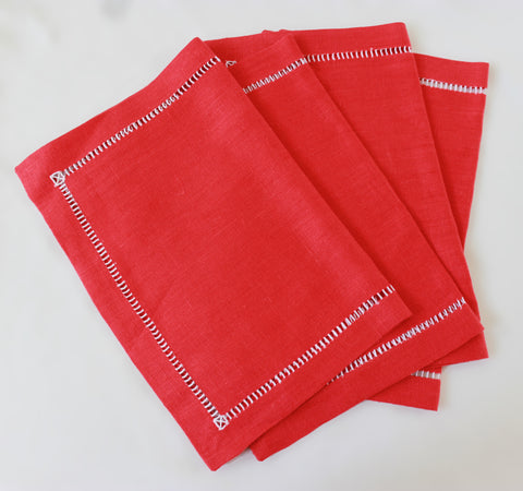 Cara Mia Linen Placemats in Red  Set of 4