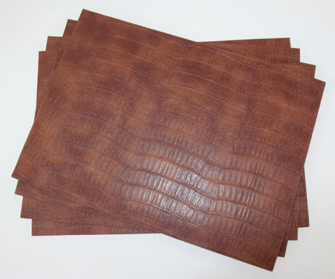 Chestnut Vinyl Crocodile Placemats Set of 4