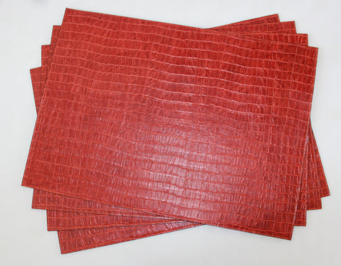 Cinnamon Vinyl Crocodile Placemats Set of 4