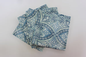 Blue Tuscan Tile Napkins  Set of 4