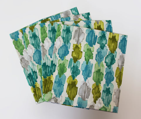 Blue Green Painted Spot Napkins  Set of 4