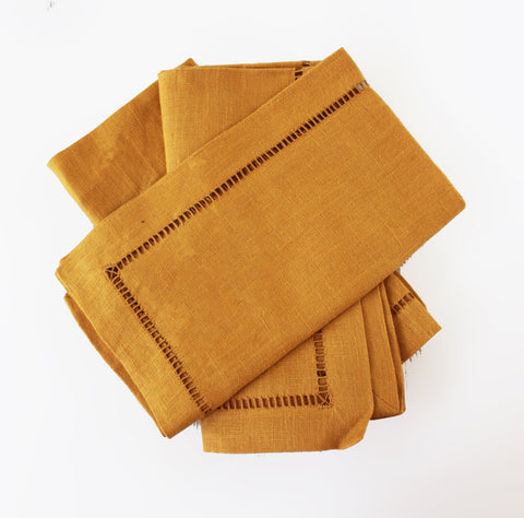 Cara Mia Gold Linen Napkins  Set of 3