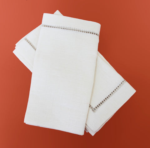 Cara Mia Ivory Linen Napkins  Set of 4