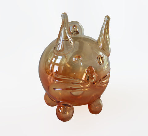 Orange Iridescent Cat Ornament