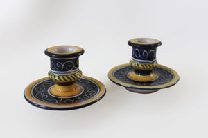 Blue and Yellow Candlestick Holders  1 Pair