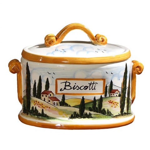 Tuscany Yellow Oval Biscotti Jar